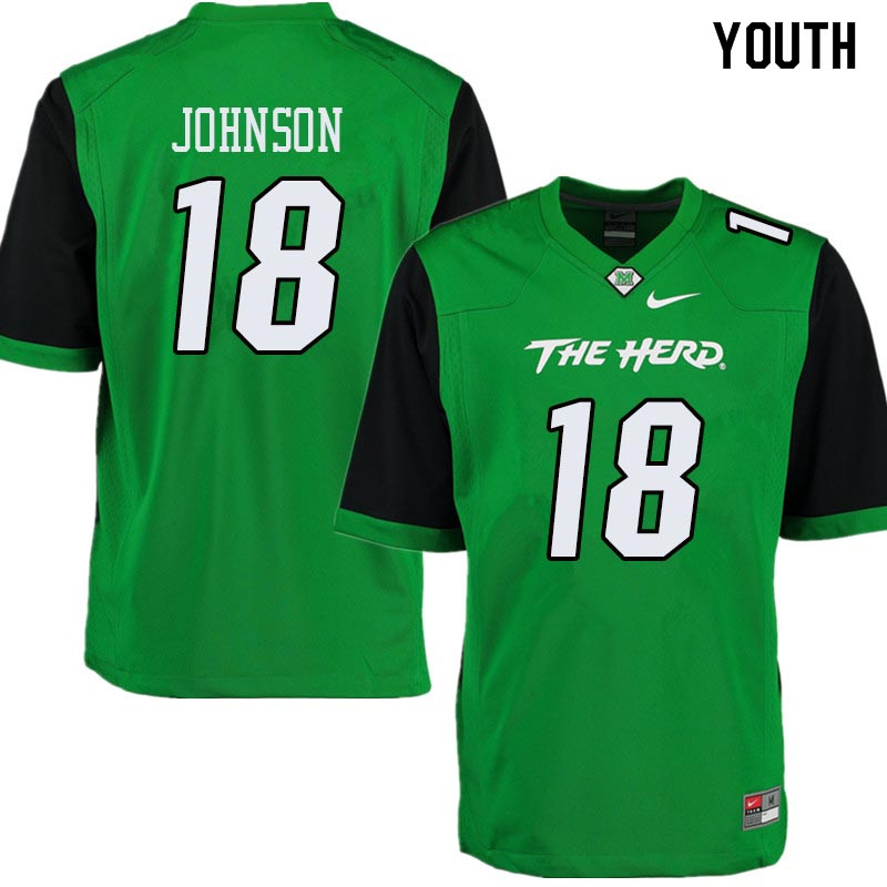 Youth #18 Dontrell Johnson Marshall Thundering Herd College Football Jerseys Sale-Green